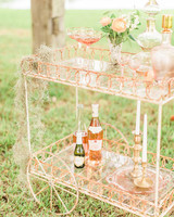 rose gold wedding bar cart