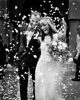 wedding exits petals toss