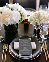 whitney zach wedding menu on plate gold flatware