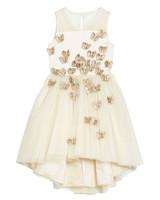 flower girl white butterfly dress