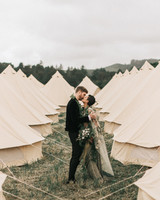 zai phil camping wedding couple tents kiss