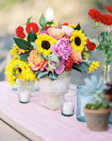 Affordable wedding centerpieces that still look elevated martha colorful wedding centerpiece candles junglespirit Image collections