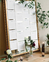 wedding seating chart mirror cards