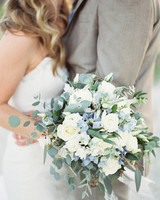 Blue, White, and Green Beach Wedding Bouquet