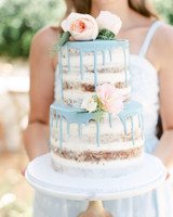 Naked Wedding Cake with Blue Drips
