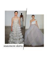 fall 2019 bridal fashion week trends statement skirts