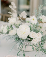 bridal shower centerpiece with white roses