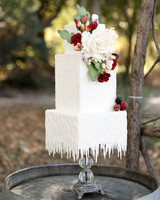 cubed wedding drippings like icicles white cake