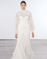 dennis basso wedding dress long sleeve high neck