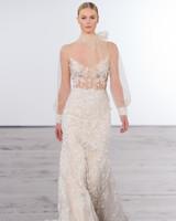 dennis basso wedding dress fall 2018 lace high neck long sleeve