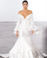 dennis basso trumpet wedding dress with bell sleeves wedding fall 2018