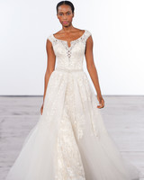 dennis basso lace wedding dress with cap sleeves fall 2018