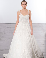 dennis basso spaghetti straps wedding dress with embellishments fall 2018