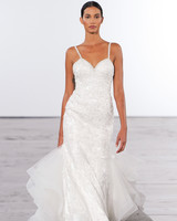 dennis basso lace wedding dress with spaghetti straps fall 2018