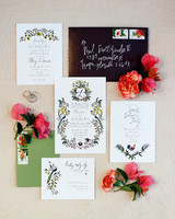 stationary suite with floral illustrations