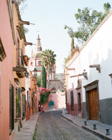 colorful cobblestone street of san miguel, mexico