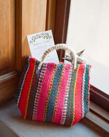 colorful woven welcome bags