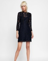 short black lace fall wedding guest dress