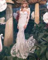 padded shoulder lace long sleeve illusion high neck train semi mermaid wedding dress Gala by Galia Lahav Spring 2020
