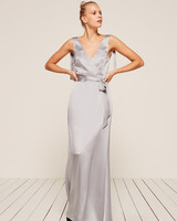 grey silver bridesmaid dresses reformation siena