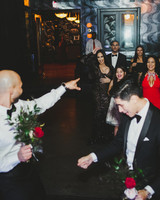 grooms bouquet toss with guests