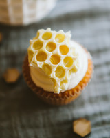 Honeycomb Wedding Inspiration, Cupcake Topped with Honeycomb