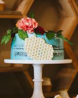 Honeycomb Wedding Inspiration, Wedding Cake with Honeycomb Motif on Side