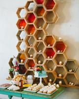 Honeycomb Wedding Inspiration, Dessert Backdrop in Honeycomb Shape