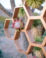 Honeycomb Wedding Inspiration, Ceremony Backdrop with Protea