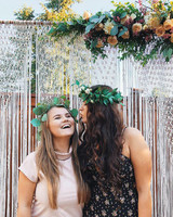 bridal shower ideas guest pose woven photo backdrop