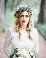 Bride in Blue and Green Rose and Thistle Flower Crown with Lavender