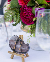 jewel toned centerpiece with geode