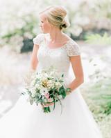 bride wearing scoop neckline with choker