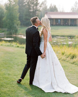 kaitlin jeremy wedding bride and groom outdoor kiss