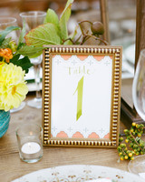 framed wedding table number