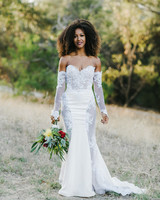 long sleeved wedding dresses mermaid