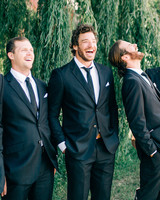 maggie zach wedding laughing with groomsmen