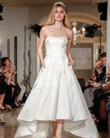 oleg cassini wedding dress fall 2018 strapless high low tea length