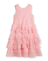 pink layered flower girl dress