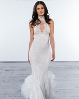 pnina tornai fall 2018 lace high neck trumpet wedding dress