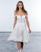 pnina tornai fall 2018 off shoulder lace short wedding dress