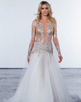 pnina tornai fall 2018 metallic top long sleeve wedding dress