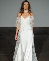rime arodaky fall 2018 sheer lace spaghetti strap wedding dress