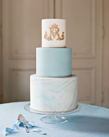 washington dc wedding blue gold cake