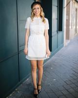 short wedding dress black shoes hat