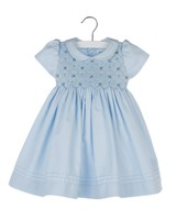 Smock Dress with Tucks in Blue