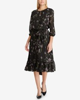 floral print black three quarter sleeve midi dress