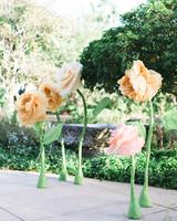 handmade oversized pastel orange and pink tissue paper flower decor