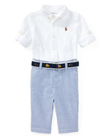 Ralph Lauren Childrenswear Oxford Mesh Button-Down Shirt with Seersucker Pants