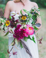 sunflower bouquet with peonies